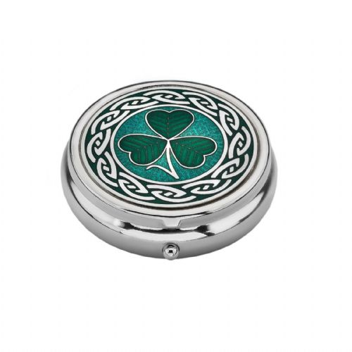 Large Pill Box Silver Plated Shamrock Design Brand New & Boxed